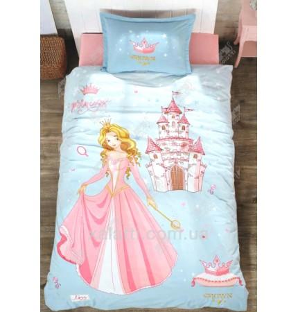 Комплект постельного 160*220 ренфорс Clasy Принцесса голубой