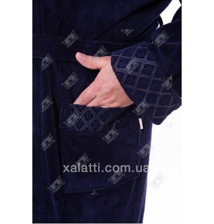 """Халат мужской махровый синий """"Восток"""" Nusa бамбук"""