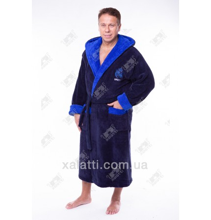Мужской махровый халат капюшон софт синий