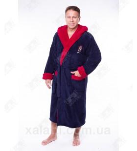 Мужской махровый халат капюшон софт красный