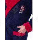 Мужской махровый халат капюшон 52-54 софт красный