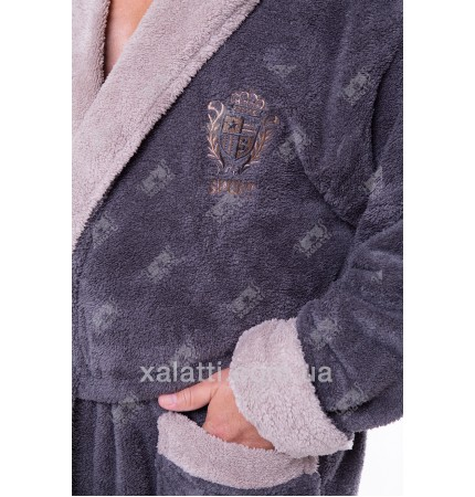 Мужской махровый халат капюшон софт серый