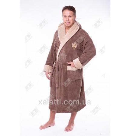 Мужской махровый халат капюшон софт коричневый