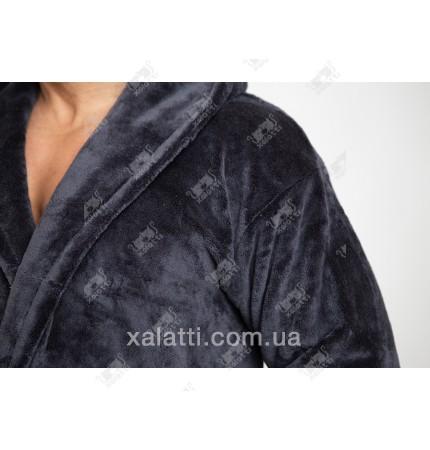 Теплый мужской халат капюшон антрацит