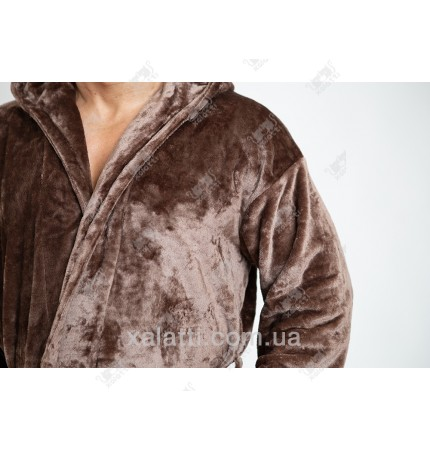 Теплый мужской халат капюшон коричневый