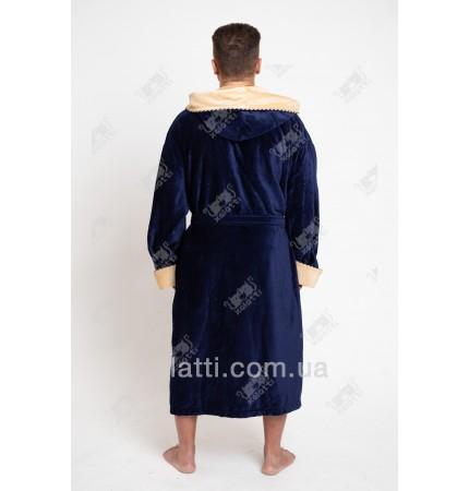 Халат мужской махровый капюшон Massimo Monelli синий