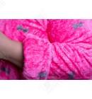 """Короткий женский халат 44-50 капюшон """"Бантики"""" коралл"""