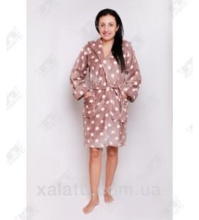 """Короткий женский халат капюшон """"Горошек"""" кофе с молоком"""