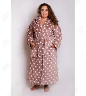"""Теплый женский халат капюшон """"Горошек"""" коричневый"""