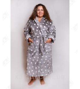 "Теплый женский халат капюшон ""Сердечки"" серый"