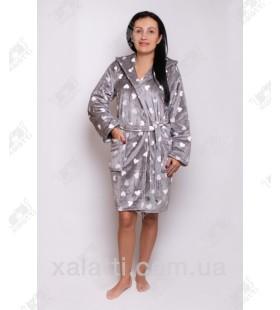 """Короткий женский халат капюшон """"Сердечки"""" серый"""
