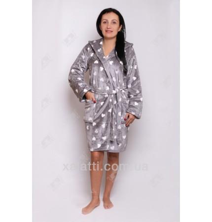 """Короткий женский халат 44-50 капюшон """"Сердечки"""" серый"""