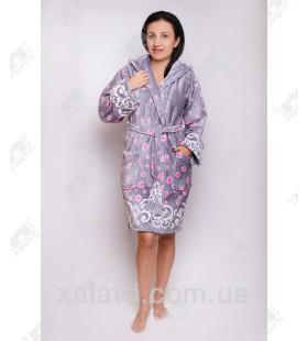 """Короткий женский халат капюшон """"Купон"""" серый"""