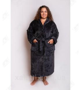 Теплый махровый женский халат капюшон антрацит Elite