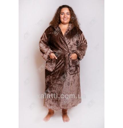 Теплый женский халат капюшон коричневый Elite