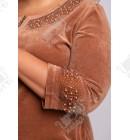 """Велюровый халат на молнии Esra """"Жемчуг"""" к.5961 коричневый"""