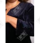 """Велюровый халат на молнии """"Орнамент"""" Esra к.6122 синий"""