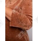"""Велюровый халат на молнии """"Орнамент"""" Esra к.6122 коричневый"""