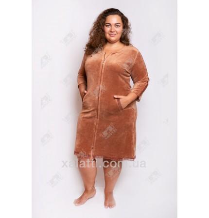 Велюровый халат на молнии Esra к.6173 коричневый