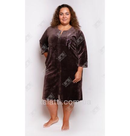 """Велюровый халат на молнии """"Стразы"""" Esra к.6298 кофе"""