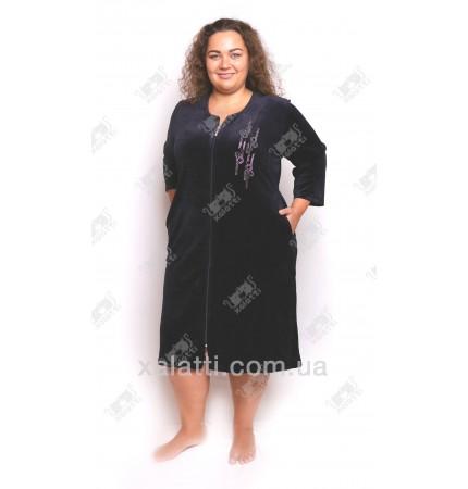 """Велюровый халат на молнии """"Стразы"""" Esra к.6298 синий"""