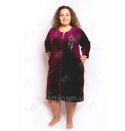 """Велюровый халат на молнии """"Стразы"""" Esra к.6298 баклажан"""