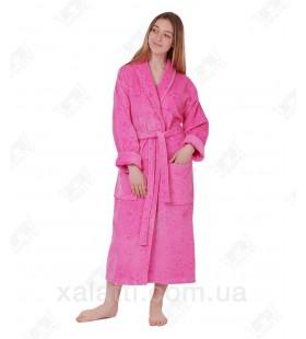 Халат женский махровый розовый May Yener