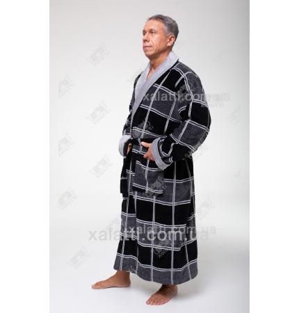 Халат мужской махровый Chereskin клетка серый1