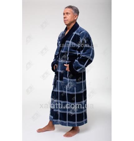 Халат мужской махровый Chereskin шахматка синий