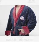 Халат мужской махровый Massimo Monelli синий с бордо