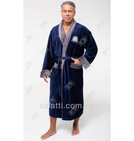 Халат мужской махровый Massimo Monelli синий с серым