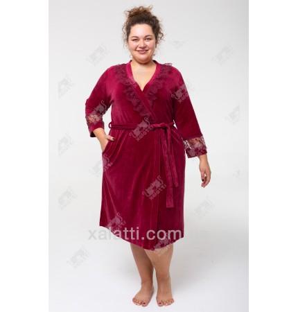 """Велюровый халат на запах Sexy"""" Esra к.6187 бордо"""