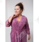 """Велюровый халат на запах Sexy"""" Esra к.6187 сиреневый"""