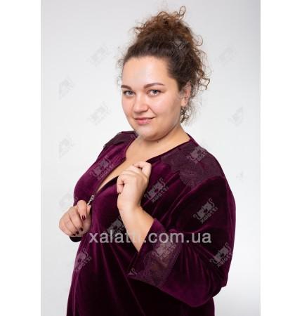 Велюровый халат на молнии  Esra к.6515-B баклажан
