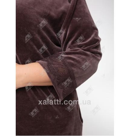 Велюровый халат на молнии  Esra к.6515-B шоколад