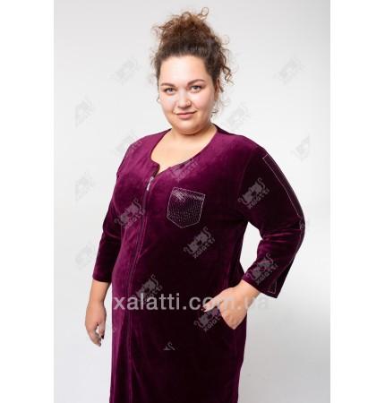 Велюровый халат на молнии Sport Esra к.6548 баклажан