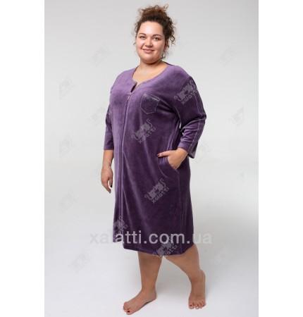 Велюровый халат на молнии Sport Esra к.6548 сиреневый