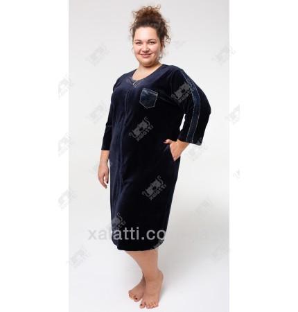 Велюровый халат на молнии Sport Esra к.6548 синий