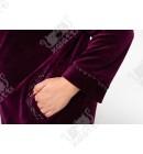 """Велюровый халат на молнии """"Воротничок"""" Esra к.6611 баклажан"""