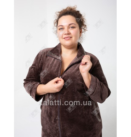 """Велюровый халат на молнии """"Воротничок"""" Esra к.6611 шоколад"""