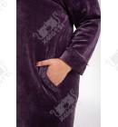 """Велюровый халат на молнии """"Воротничок"""" Esra к.6611 сиреневый"""