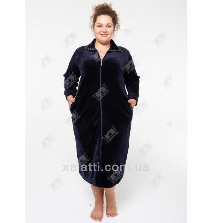 """Велюровый халат на молнии """"Воротничок"""" Esra к.6611 синий"""