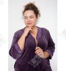 """Велюровый халат на молнии """"Вышивка""""  Esra к.6651 сиреневый"""
