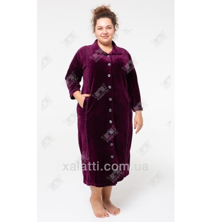 Велюровый халат на пуговицах Esra к.6681 баклажан