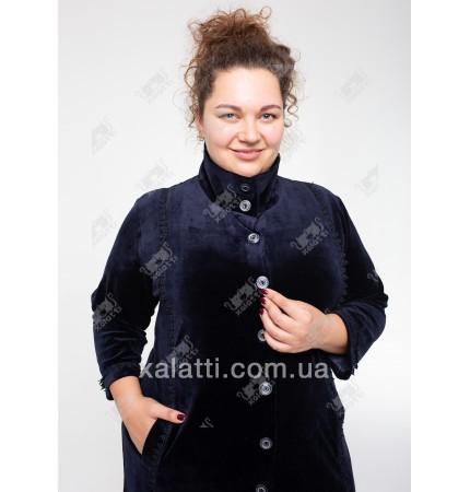Велюровый халат на пуговицах Esra к.6681 синий