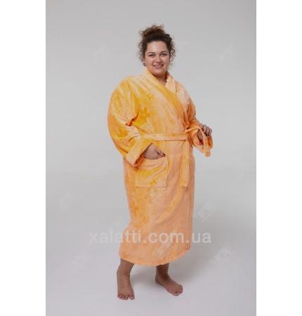 Халат махровый женский большой хлопок Massimo Monelli персиковый