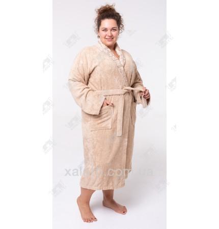 Женский махровый халат бамбук Nurpak беж