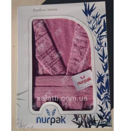 Женский махровый халат бамбук Nurpak маджента