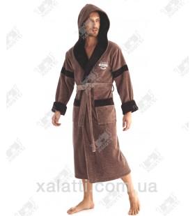 """Халат мужской махровый капюшон """"Legend"""" коричневый Nusa бамбук"""
