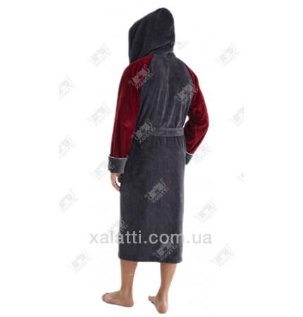 Халат мужской капюшон серый-бордо Nusa бамбук